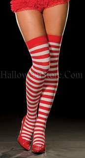 Red and White Striped Pippi Thigh High Stocking. One size fits most