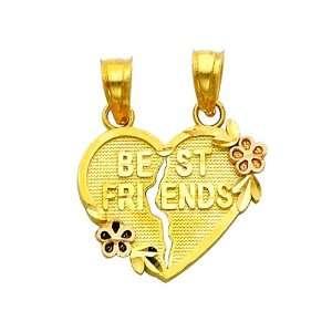 Gold BEST FRIENDS Broken Heart Charm Pendant GoldenMine Jewelry