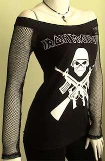 IRON MAIDEIN Metal DIY Death Dark Black Women Top Shirt size S