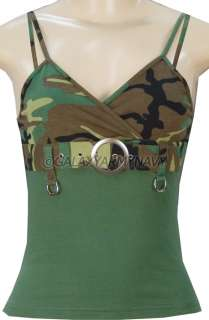 Womens Army Woodland Camouflage Shirt Spaghetti Strap Tank Top