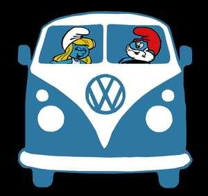 Kids BLACK T Shirt Funny Smurfs Papa Smurf Smurfette VW Kombi Van NEW