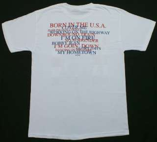 Born in the USA Crewneck T Shirt White Rock & Roll Music NWOT