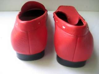 Talbots 7B Red Leather Flats Driving Shoes Loafers EUC