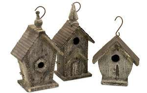 Vintage Style Distressed Hanging Reclaimed Wood Birdhouse White Wash