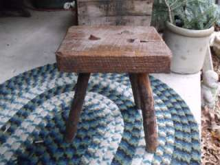 Rustic Primitive Original Antique Milking Stool With Tree Branch Log