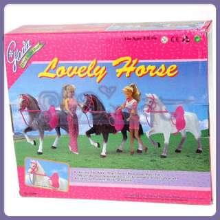 White Horse Long Mane Pink Saddle For Barbie Ken Dolls