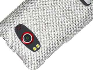 WHITE CLEAR CRYSTAL DIAMOND BLING FACEPLATE CASE COVER HTC EVO 4G