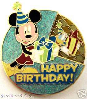 DISNEY MICKEY MINNIE DONALD GOOFY HAPPY BIRTHDAY PIN