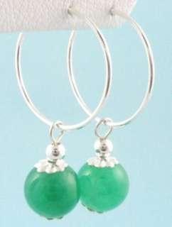 8mm Genuine Dark Green Jade 925 Silver Hoop Earrings