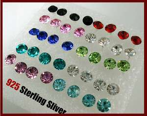 Earring Stud Wholesale Mixed Color 925 Sterling Silver  9 Colors