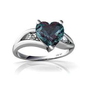 14K White Gold Heart Created Alexandrite Ring Size 8 Jewelry