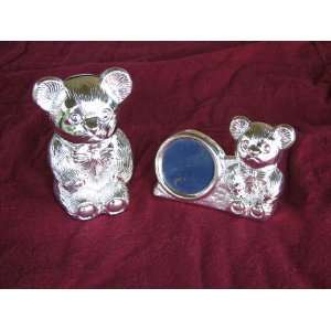Silver Baby Teddy Bear Bank and Picture Frame