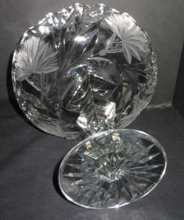 """ANTIQUE ABP CUT GLASS 8"""" TALL HEAVY COMPORT COMPOTE"""