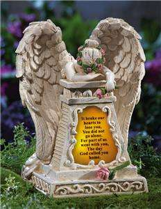 Touching Solar Lighted Weeping Angel Memorial Garden Stone