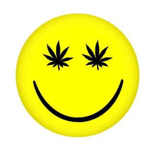 STONED SMILEY FACE   2.25 BUTTON   weed/cannabis/420