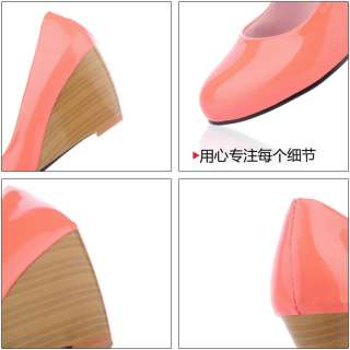 2012 New Round Toe Wedge Womens Shoes Patent Leather High Heels Cute