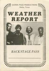 WEATHER REPORT 1978 TOUR BACKSTAGE PASS