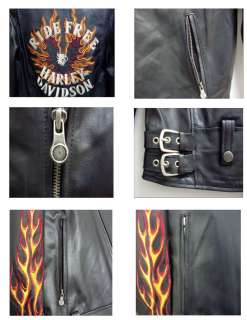 Mens Harley Davidson Ride Free Leather Jacket Flames II   M   Size