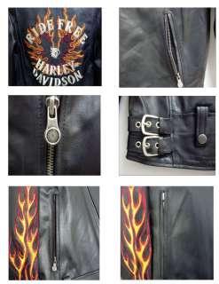 Mens Harley Davidson Ride Free Leather Jacket Flames II   M   Size
