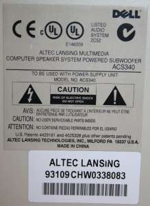 ALTEC LANSING ACS340 COMPUTER SPEAKER SYSTEM W/ DOWN FIRING SUBWOOFER