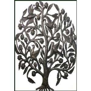 Tree with Birds Metal Art Wall Sculpture   24 x 34