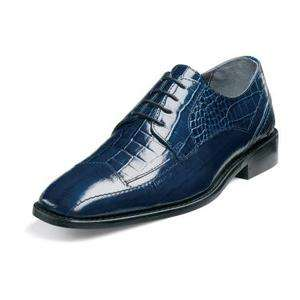 STACY ADAMS Mens Tarviso Modified Cap Toe Dress Shoes Blue Leather
