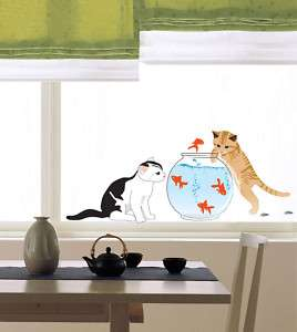 Cats & Fishbowl Wall STICKER Removable Adhesive Decal