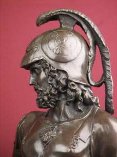 SIGNED BRONZE STATUE ROMAN GOD WARRIOR SCULPTURE ON MARBLE Sculpture