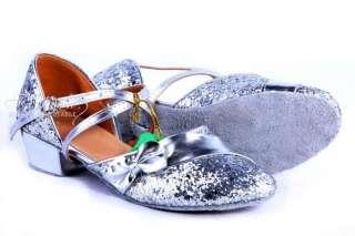 Girl Kid Ballroom Latin Children Salsa Dance Shoes Gold Silver Rose