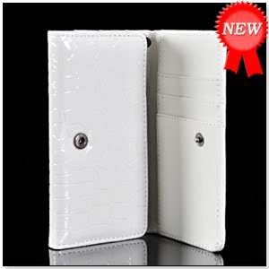 WHITE CROCODILE LEATHER WALLET CASE COVER CARD POUCH SONY ERICSSON