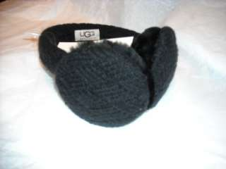 NEW UGG Australia Earmuffs Wool cable knit black