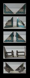 VINTAGE ZUNI INDIAN STERLING SILVER CHANNEL SET INLAID TURQUOISE