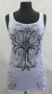 VOCAL White Shirt Gothic Cross Rhinestones Tank Top NEW
