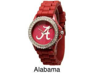 Ladies Alabama Crimson Tide Team Watch Rhinestone Gel Band Licensed
