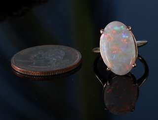 ESTATE JEWELRY ANTIQUE VINTAGE 14K GOLD AUSTRALIAN OVAL OPAL RING   5