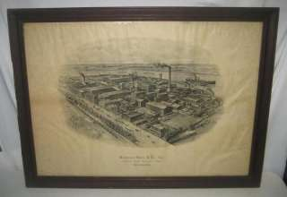 ANTIQUE HARRISON BROS PHILADELPHIA BIRDS EYE VIEW PRINT