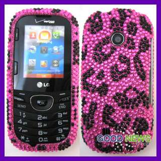 for Verizon LG Cosmos 2 VN251   Pink Leopard Bling Cubics Hard Case