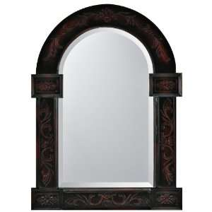 Dark Bronze with Red Accents Arch Wall Mirror