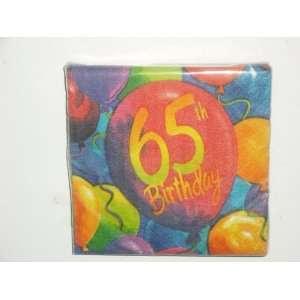 Painted Balloons 65th Birthday Beverage Napkins: Kitchen