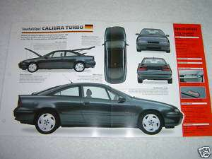1992 1996 VAUXHALL/OPEL CALIBRA TURBO SHEET BROCHURE