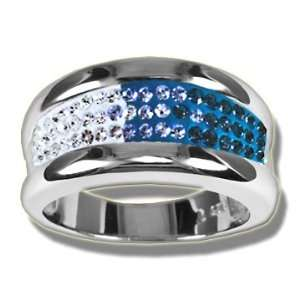 Ashley Arthur .925 Silver & Montana Wide Crystal Band Ring