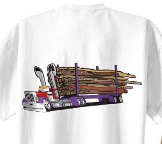 Peterbilt Logging Truck Cartoon T shirt #1038 semi timber log hauler