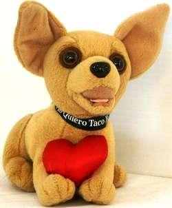 holding VALENTINE Heart TACO BELL says GRRRLLLOOOOWWW Toy DOG