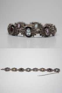 GORGEOUS Vtg Art Deco Estate Costume Bracelet w/ Multi Colored Stones
