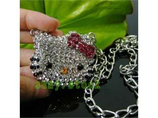 Beautiful Fashion hello kitty Crystal necklace Gift L1