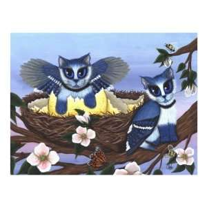 Blue Jay Kittens  Bird Cats Giclee Poster Print by Carrie Hawks