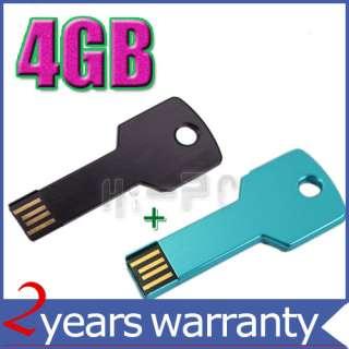 2pcs 4GB Metal Key USB Flash Memory Drive Black+Blue