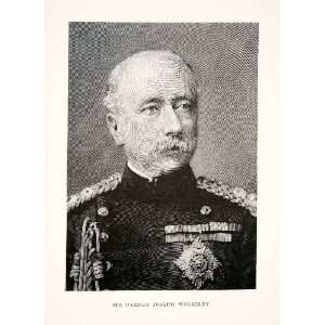 1897 Print Wood Engraving Portrait British Field Marshal Garnet Joseph