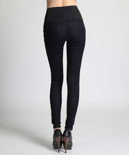 MOGAN HOT Zip Front HIGH WAISTED Stretch Band SKINNY JEANS Dark Rinsed