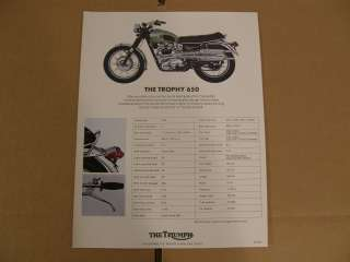 Two sided NOS Triumph Trophy 650 brochure. This came from an old